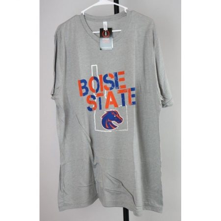 Boise State Broncos Stenciled Gray Short Sleeve T-Shirt (2XL)