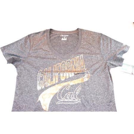 California Golden Bears Women's V-Neck Tee T-Shirt, Large, Heather Gray