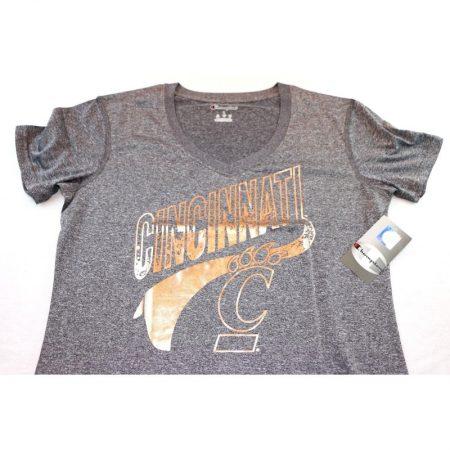 Cincinnati Bearcats Women's V-Neck T-Shirt, Large, Heather Gray