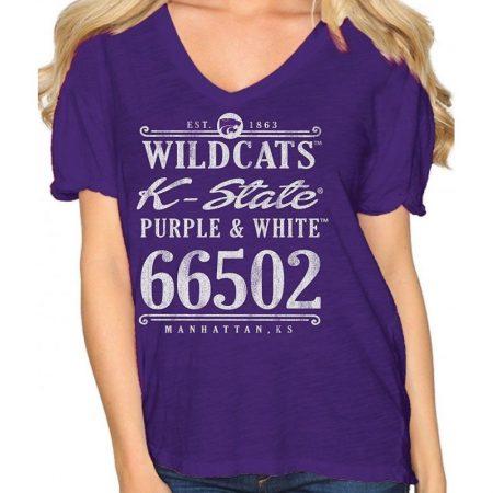 Kansas State Wildcats Women's V Neck Tee Graphic T-Shirt