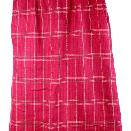Pendleton Red Plaid Checks Lined Pencil Wool Skirt Size 4 (26″ Waist) Vintage